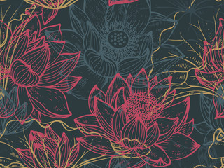 Floral seamless pattern with hand drawn lotus flowers and leaves