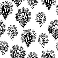 seamless black and white african pattern