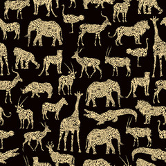 Seamless Pattern With Beige Ornamental African Animals On The Brown