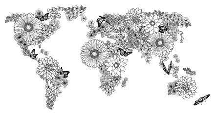 Floral world map for coloring books in black and white