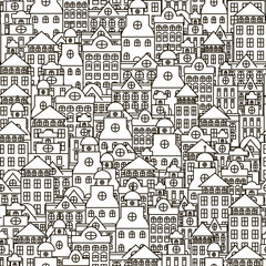 Seamless monochrome pattern with beautiful buildings.