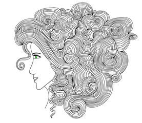 Vector portrait of a beautiful woman with curling hair