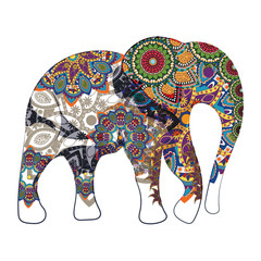 Image of an elephant painted in a decorative pattern