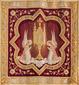 Mechelen - Needlework of the Eucharist adoration of angels