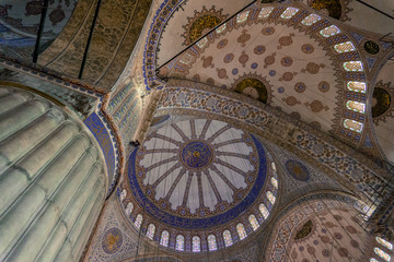 pattern created by the intersecting of domes on the ceiling of the Blue Mosque in Istanbul, Turkey