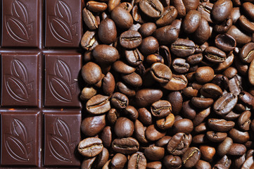 photo of chocolate and coffee beans textured background