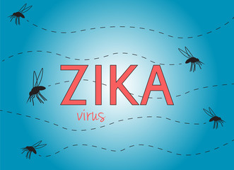Zika virus illustration with text and flying mosquitoes on blue background
