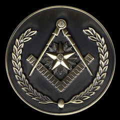 freemasonry brass medal  square & compass
