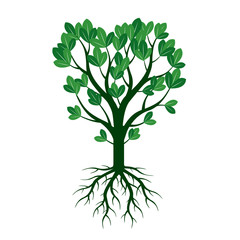 Green Spring Tree and Roots. Vector Illustration.