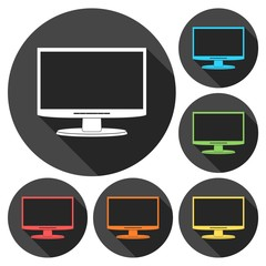 Monitor icon, Vector Eps 10 icons set with long shadow