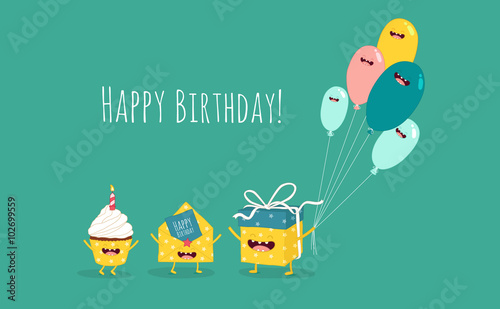 Happy birthday card funny birthday gift with balloons and cupcake funny birthday gift with balloons and cupcake with invitation envelope vector stopboris Choice Image