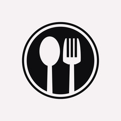Restaurant cutlery circular symbol of a spoon and a fork in a circle icon