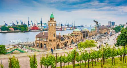 Hamburg Landungsbrücken panorama, Germany