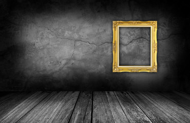 gold frame on gray stone wall background