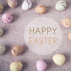 Easter pastel speckled eggs, selective copyspace background, ton