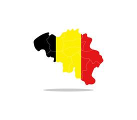Belgium map with regions