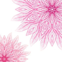 two pink mandala, a circular pattern on a white background, vector illustration