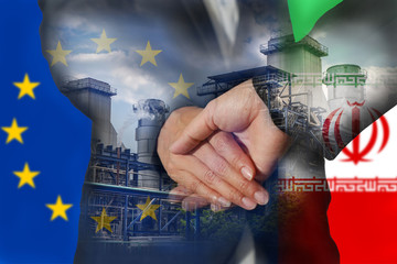 Double exposure of handshake, Power Reactor, flag of European Union and flag of Iran