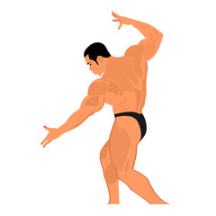 bodybuilder posing, vector illustration