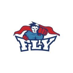 Fly super hero logo