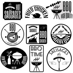 barbeque; grill; sausages Set retro vintage badges