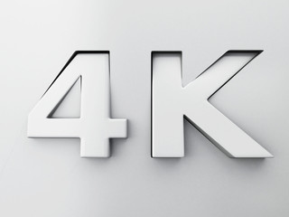 3d image. 4K text engraved and extruded from the surface.