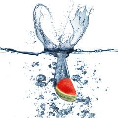 Water Splash on Watermelon Fruit