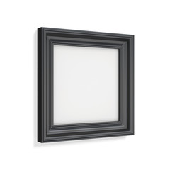 Square black picture frame on white background. 3d rendering