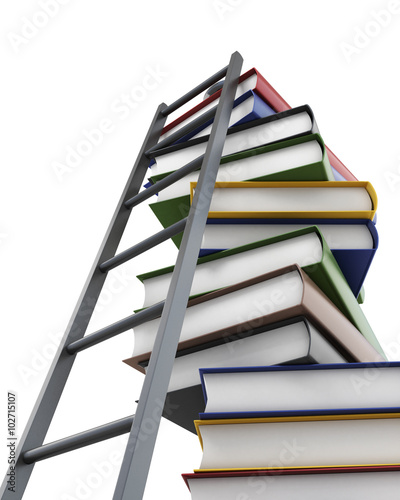 Conceptual 3d model stack of books and a ladder on white backgro