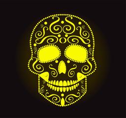 skull vector neon yellow