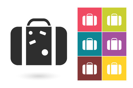 Suitcase icon or suitcase drawing symbol. Suitcase vector element or suitcase pictogram for logo with suitcase icon or label with suitcase icon