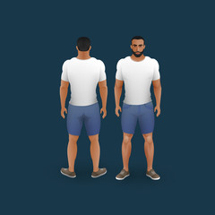 men in shorts and t-shirt