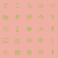 Job description line icons green color