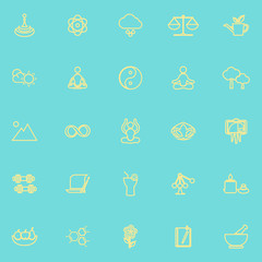 Zen concept line icons yellow color