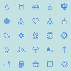 Zen society line icons light blue color