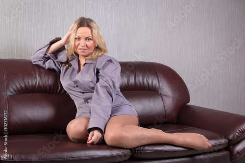 Quot Woman In A Man S Shirt And Vision Tights Posing On The