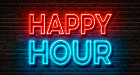 Neon sign on a brick wall - Happy Hour