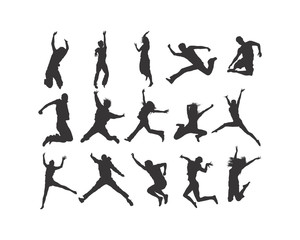 Jumping people silhouette logo icon vector