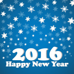Happy New Year 2016 celebration flyer, banner, poster or invitation with stylish text on snowflakes
