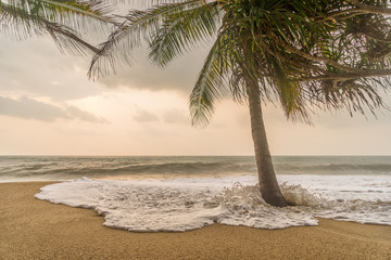 Gloomy weather on the tropical beach.