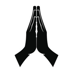 Praying hands black simple icon