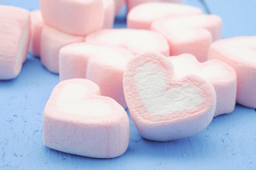 Pink heart shape of marshmallow with filter effect retro vintage