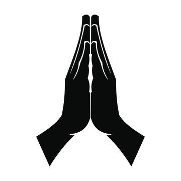 Praying hands black simple icon