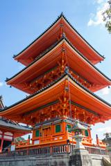 Pagoda at kiyomizu-dera Temple in Kyoto, Japan
