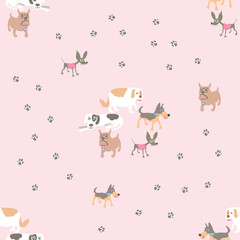 The seamless vector pattern with five dogs