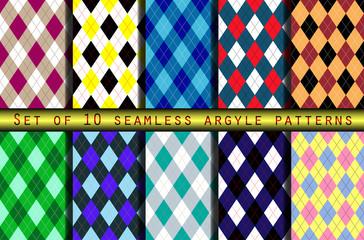 Set of ten seamless argyle patterns.