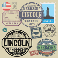 Stamp set with the name and map of Nebraska, United States