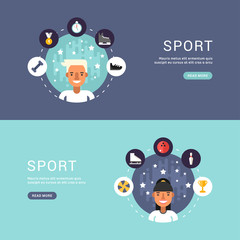 Vector Illustrations in Flat Design Style. Sport Icons and Sportsman Cartoon Character in Circle. Winter Sports