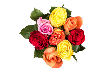 Rose Bouquet. Colorful flower bouquet from roses isolated on white background.