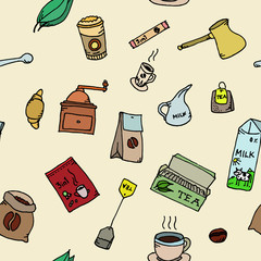 Seamless pattern set of coffee and tea